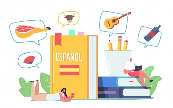 un libro de color amarillo con Españoll en su título y diferentes elementos en burbujas aludiendo a diferentes formas de nombrar cosas en el idioma español